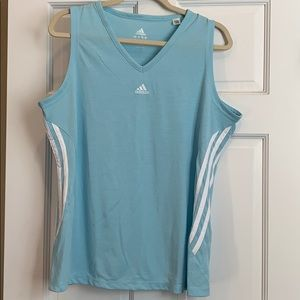 Adidas tank top. Light blue with white stripes. XL